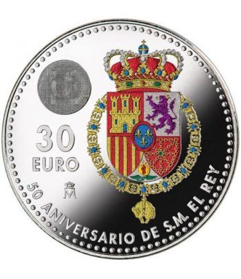 Moneda conmemorativa 30 Euros 2018. 50 Años Felipe VI color.  - 2