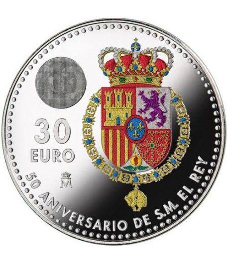 Moneda conmemorativa 30 Euros 2018. 50 Años Felipe VI color.  - 1