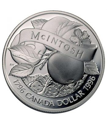 Moneda de plata 1 Dollar Canada 1996 Manzana McIntosh. Proof.  - 1