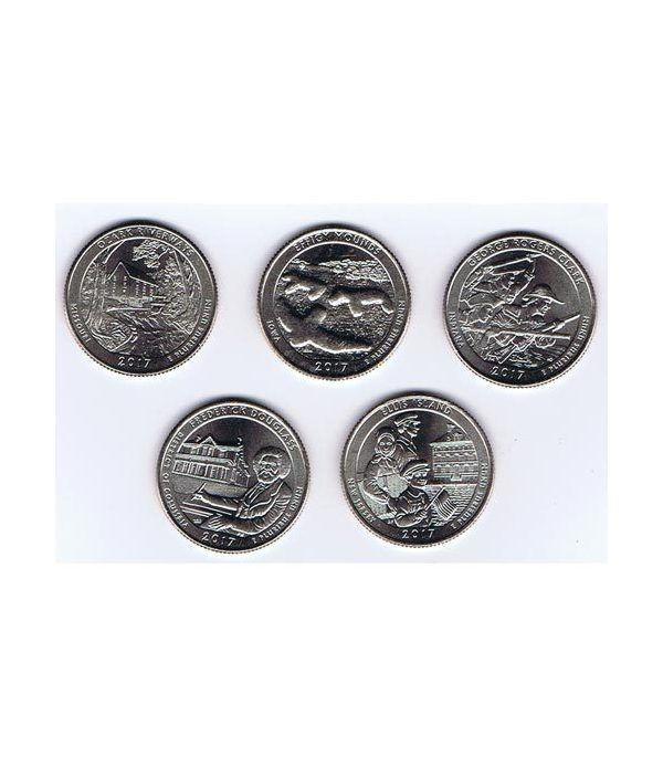 E.E.U.U. 1/4$ 2017 Parques Nacionales (5 monedas) ceca P.  - 2