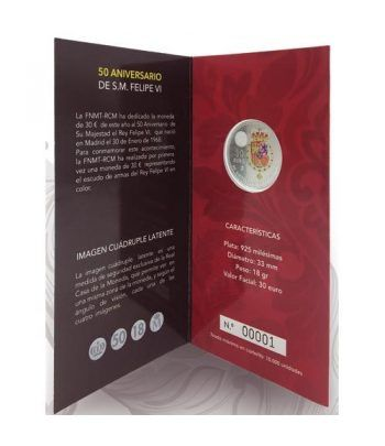 Cartera oficial euroset 30 Euros 2018 Felipe VI Color.  - 8
