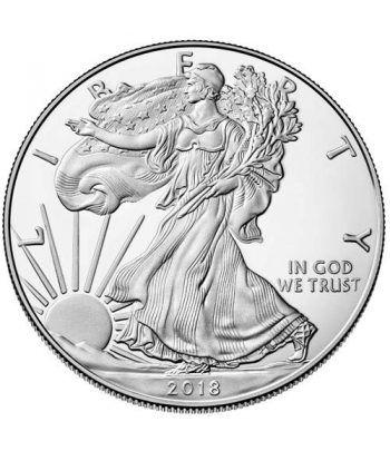 Moneda onza de plata 1$ Estados Unidos Liberty 2018.  - 1