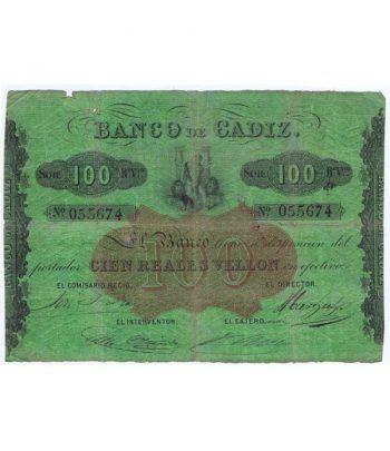 Banco de Cádiz 100 reales de vellón 1847. MBC. Nº 55674  - 1