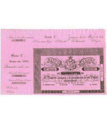 Banco de Zaragoza 500 reales de vellón 1857. SC. Nº 08589  - 1