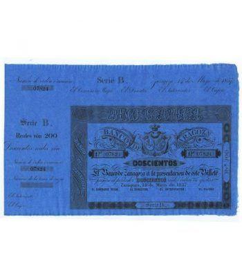 Banco de Zaragoza 200 reales de vellón 1857. SC. Nº 07824  - 1