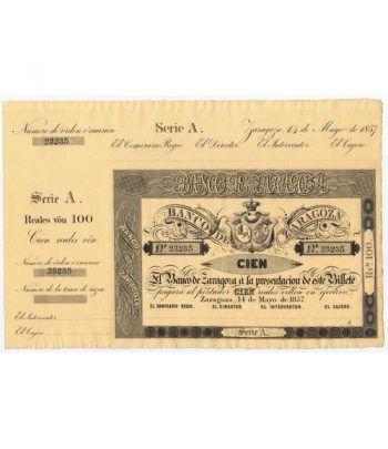 Banco de Zaragoza 100 reales de vellón 1857. SC. Nº 23235  - 1