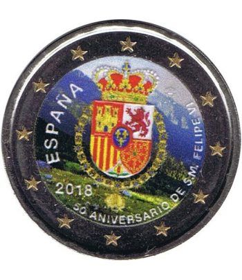 moneda conmemorativa 2 euros España 2018 50 años Felipe VI Color  - 2