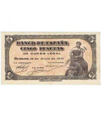 (1937/07/18) Burgos. 5 Pesetas. EBC-. Sin Serie 7507832.  - 1
