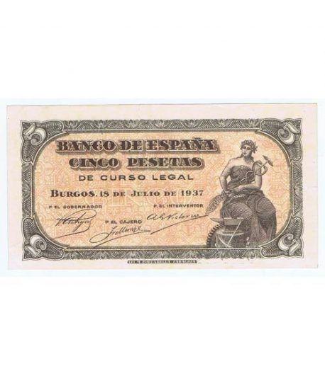 (1937/07/18) Burgos. 5 Pesetas. EBC+. Serie C7896049  - 1