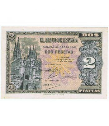 (1937/10/12) Burgos. 2 Pesetas SC. Serie A3088307  - 1