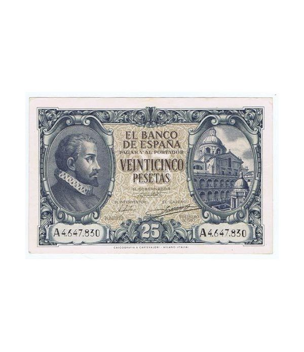 (1940/01/09) Madrid. 25 Pesetas. EBC+. Serie A4647830  - 1