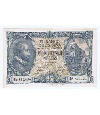 (1940/01/09) Madrid. 25 Pesetas. EBC+. Serie D3263494  - 2