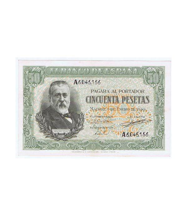 (1940/01/09) Madrid. 50 Pesetas. SC-. Serie A6045156.  - 1