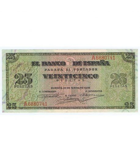 (1938/05/20) Burgos. 25 Pesetas. EBC+. Serie A6880741  - 1