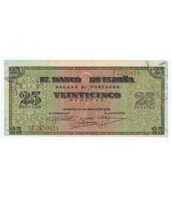 (1938/05/20) Burgos. 25 Pesetas. MBC+. Serie F2250414  - 1