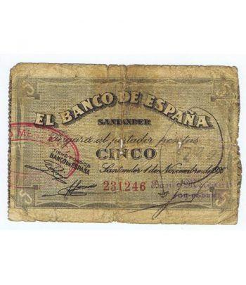 (1936/11/01) Santander. 5 Pesetas. BC. Serie 231246  - 1