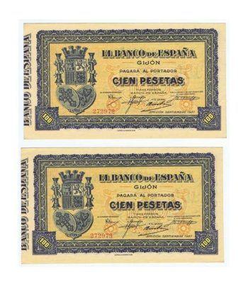 (1937/07) GIJON. 100 Pesetas. SC. Pareja.  - 1