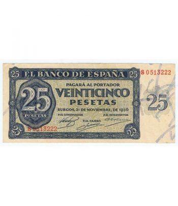 (1936/11/21) Burgos. 25 Pesetas. MBC. Serie S0513222  - 1