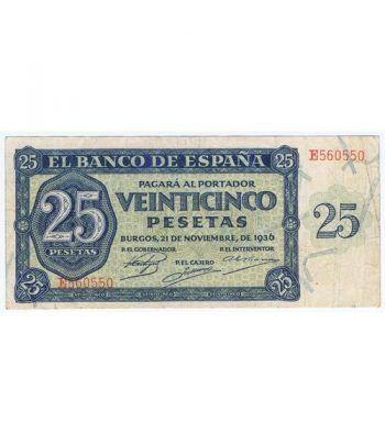 (1936/11/21) Burgos. 25 Pesetas. MBC. Serie E560550  - 1