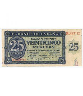 (1936/11/21) Burgos. 25 Pesetas. MBC. Serie F1423712  - 1