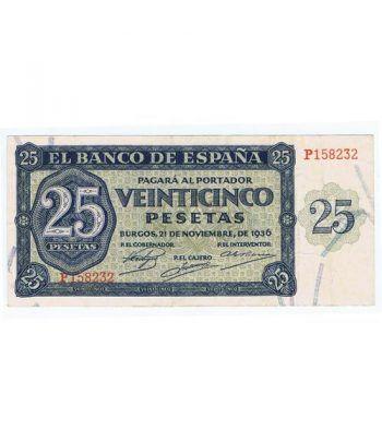 (1936/11/21) Burgos. 25 Pesetas. MBC. Serie P158232  - 1