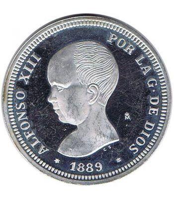 Medalla de plata 2 Pesetas Alfonso XIII 1889.  - 1