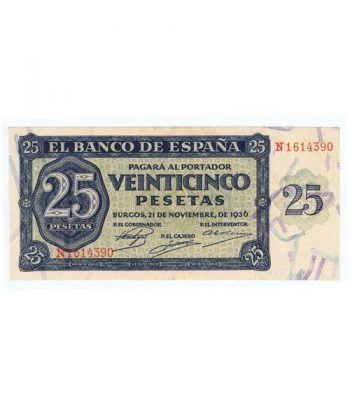 (1936/11/21) Burgos. 25 Pesetas. SC. Serie N1614390  - 1