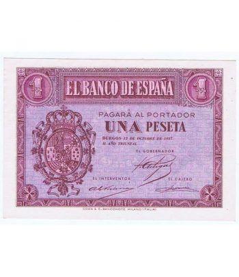 (1937/10/12) Burgos. 1 Peseta. SC. Serie E1447145  - 1