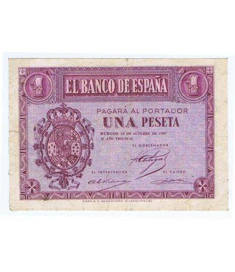 (1937/10/12) Burgos. 1 Peseta. MBC+. Serie D3968057  - 1