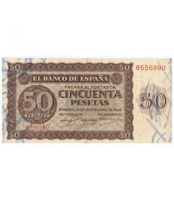 (1936/11/21) Burgos. 50 Pesetas. MBC. Serie O556990  - 2
