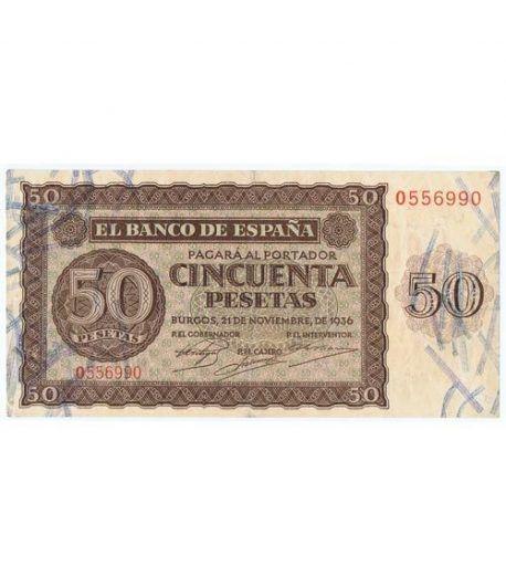 (1936/11/21) Burgos. 50 Pesetas. MBC. Serie O556990  - 1