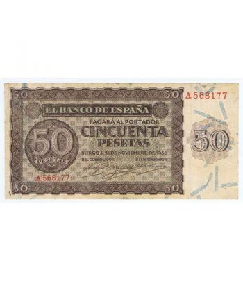 (1936/11/21) Burgos. 50 Pesetas. MBC-. Serie A568177  - 2