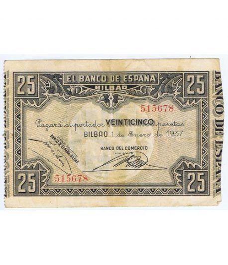 (1937/01/01) Bilbao. 25 Pesetas. MBC-. Serie 515678  - 1