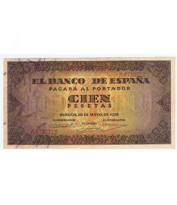 (1938/05/20) Burgos. 100 Pesetas. EBC+. Serie A8730722  - 2