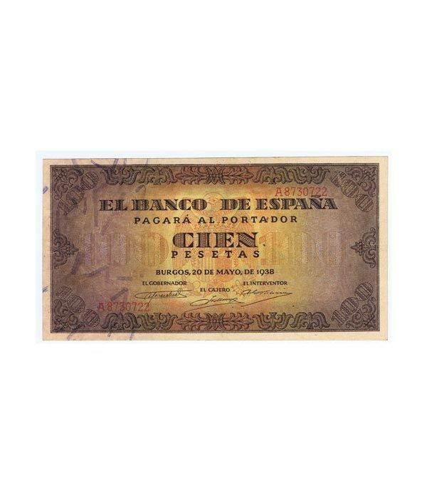 (1938/05/20) Burgos. 100 Pesetas. EBC+. Serie A8730722  - 1