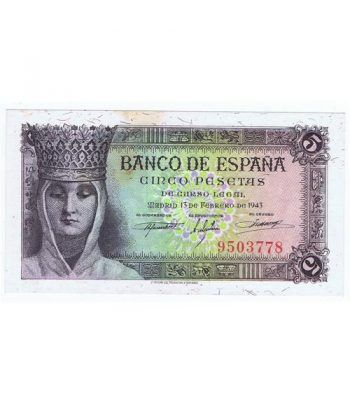 (1943/02/13) Madrid. 5 Pesetas. SC. Sin Serie 9503778.  - 1