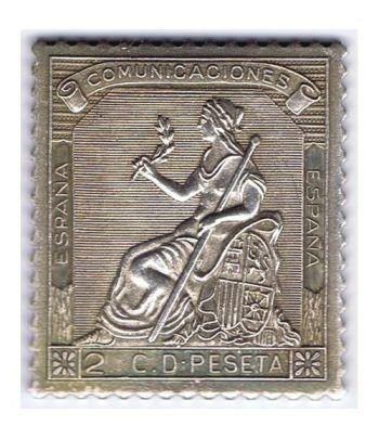 Sello plata España nº131. 2 c. Comunicaciones 1873.  - 2