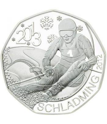 moneda Austria 5 Euros 2012 (nueve esquinas) Esqui 2013. Plata.  - 1
