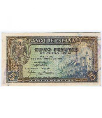 (1940/09/04) Madrid. 5 Pesetas. EBC.  - 1
