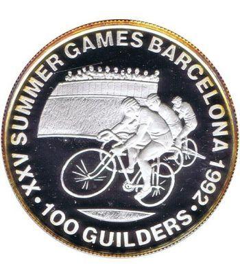 Moneda de plata 100 Guilders Suriname 1992 Ciclismo Barcelona 92  - 2