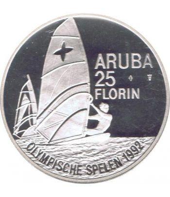 Moneda de plata 25 Florin Aruba 1992 Windsurf Barcelona 92  - 2