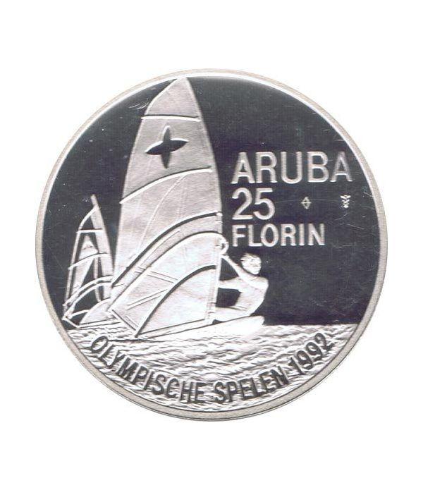 Moneda de plata 25 Florin Aruba 1992 Windsurf Barcelona 92  - 1