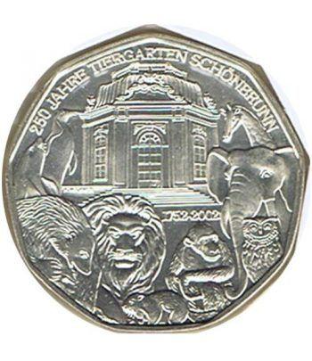 moneda Austria 5 Euros 2002 (nueve esquinas) Zoo. Elefante  - 6