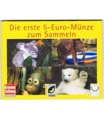 moneda Austria 5 Euros 2002 (nueve esquinas) Zoo. Elefante  - 8
