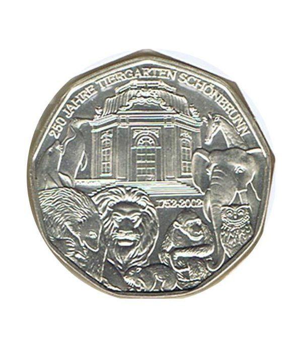 moneda Austria 5 Euros 2002 (nueve esquinas) Zoo. Elefante  - 1