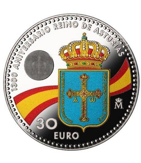 Moneda conmemorativa 30 Euros 2018 Reino de Asturias color.  - 1