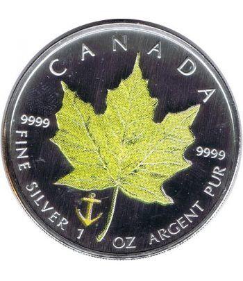 Moneda onza de plata 5$ Canada Hoja de Arce 2007 Verde  - 2