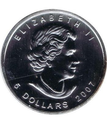Moneda onza de plata 5$ Canada Hoja de Arce 2007 Verde  - 4
