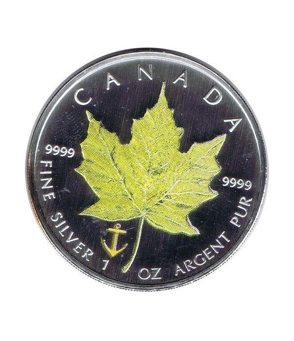 Moneda onza de plata 5$ Canada Hoja de Arce 2007 Verde  - 1