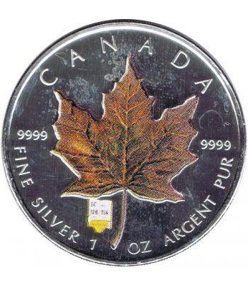 Moneda onza de plata 5$ Canada Hoja de Arce 2007 Marrón  - 2